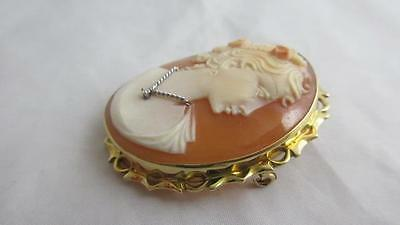 VINTAGE 18ct yellow gold REAL SHELL LARGE LADY CAMEO brooch pin habilles j4028