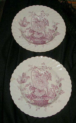 2 Vintage Clarice Cliff Scallop Edge Bowls, Purple Charlotte Pattern