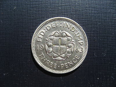 George VI Silver Threepence 1943. High Grade.