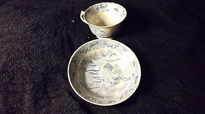 RARE WORCESTER GRANGER & Co BLUE & WHITE CUP & SAUCER TEMPLE II PATTERN C 1805-1