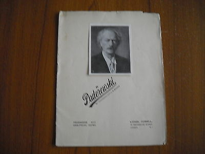 Paderewski - Programme And Analytical Notes - 1936
