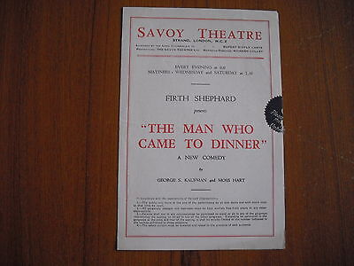 SAVOY THEATRE, LONDON - THE MAN WHO CAME TO DINNER - 1940's