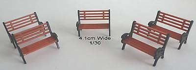 5 x 1/30 Seats / Benches for your Layouts, Train, Farm: 4.1cm Wide: New: