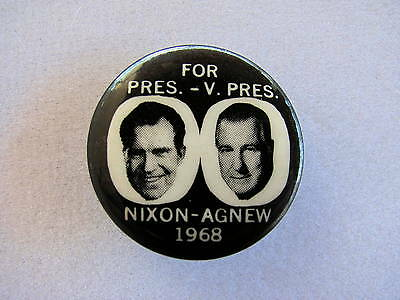 "1968 Richard Nixon for President 1"" Pinback Button Agnew Jugate B/W"