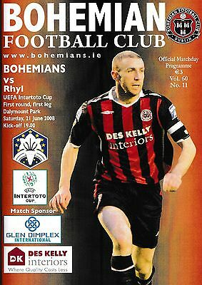 Football Programme BOHEMIANS v RHYL June 2008 Intertoto Cup