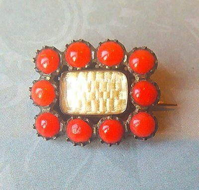 Antique Georgian 9Ct Rose Gold Coral Mourning Hair Brooch Pin