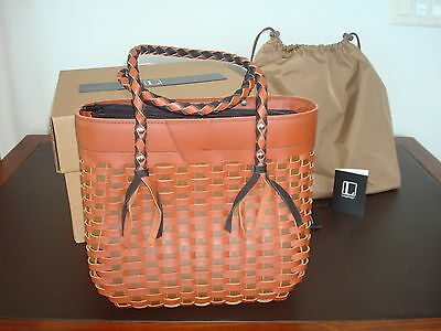 """LONGABERGER ARCADIA BAG PURSE LEATHER  """" L """" COLLECTION Retired  New Rare"""