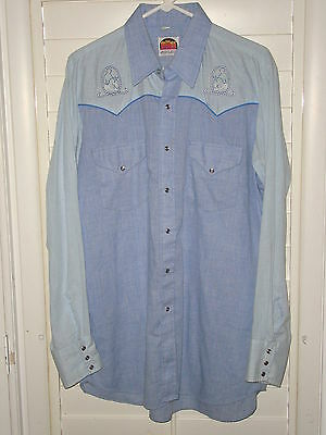 Vtg Mens Long Sleeve Pearl Snap Western Shirt By Miller Size 16 1/2   35