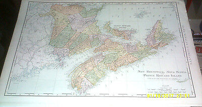 1902 Vintage Map Of New-Brunswick,nova Scotia,prince Edouard Island Original Map