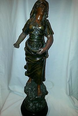 """SEMEUSE  bronze/spelter statue lady sowing by Mestair France 24"""" high inc base"""