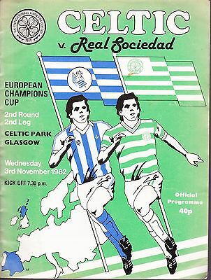 FOOTBALL PROGRAMME COLLECTION. CELTIC v REAL SOCIEDAD 1982.