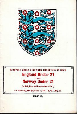 FOOTBALL PROGRAMME COLLECTION. ENGLAND v NORWAY. UNDER 21. 1977.