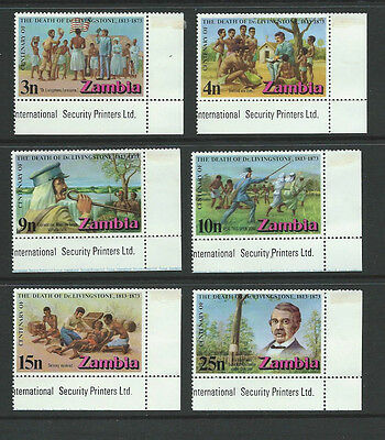 ZAMBIA 1973  Centenary of Death DR. LIVINGSTONE Margin Set of 6  SG190 /195  MNH