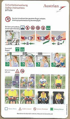 Austrian - Boeing 777-200 - 10004010 - Safety Card New - Consignes Securite/neuf