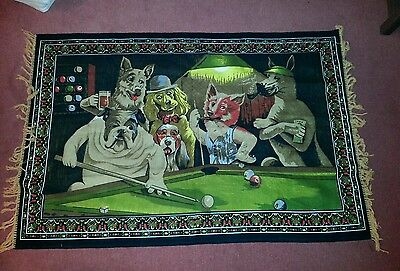 Dogs playing pool Wall Hanging / Floor Rug 100cm x 150cm Velvet Texture