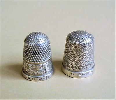 2 ANTIQUE HALLMARKED SILVER THIMBLES Chester 1901 & HG&S Birmingham 1925