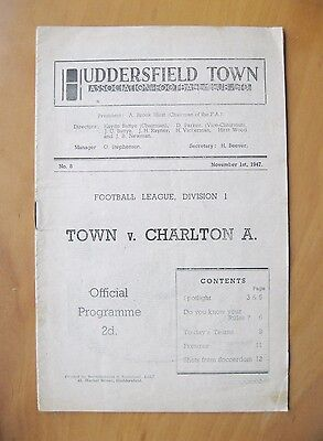 HUDDERSFIELD TOWN v CHARLTON ATHLETIC 1947/1948 VG Condition Football Programme