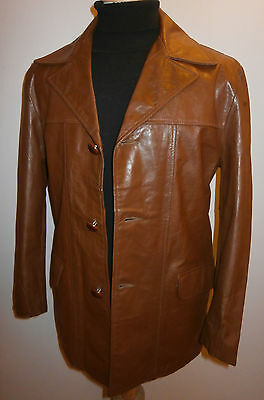 VINTAGE BROWN REAL LEATHER  JACKET BLAZER BOX COAT MENS 40 / 102cm BRANDO