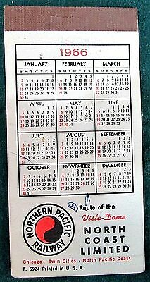 Vintage Northern Pacific Railway 1966-67 Paper Pocket Calendar Note Pad FREE S/H