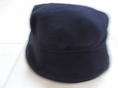 Vintage C&A Navy Fleece Winter Hat, Cloche Style, Lined, VGC