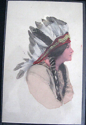 2 Postcards 'Indian Maiden' Portraits Native Americans 1907 or later