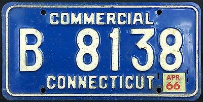 Connecticut 1966 COMMERCIAL TRUCK License Plate B 8138!