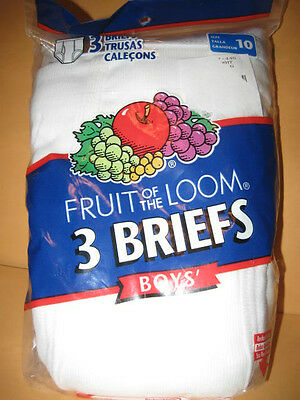 NEW 3pack Boys Fruit Of The Loom BRIEFS boys size 10 white 100% Cotton