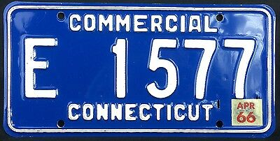 Connecticut 1966 COMMERCIAL TRUCK License Plate E 1577 - natural sticker!
