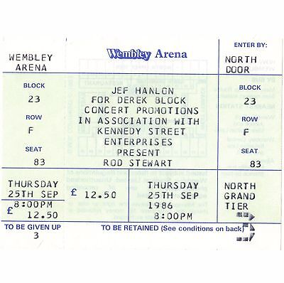 ROD STEWART Concert Ticket Stub LONDON 9/25/86 WEMBLEY THE FACES MAGGIE MAY Rare