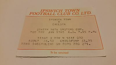 TICKET 1989/90 Ipswich v Chelsea (ZDS Cup)