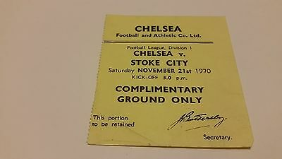 TICKET 1970/71 Chelsea v Stoke City
