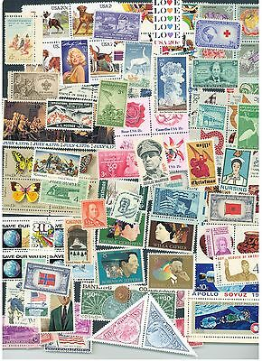 Lot of 100 different  MINT US Postage Stamps, Vintage Packet MNH unused