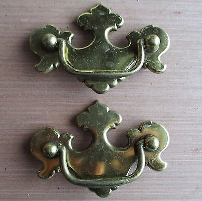 Pair Of Chippendale Style Brass Finish Drawer Door Pulls