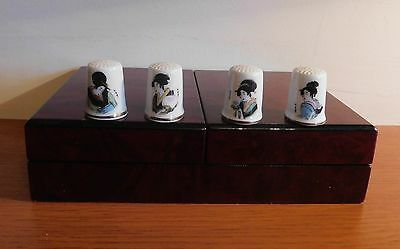 Four China Thimbles  Japanese Laides