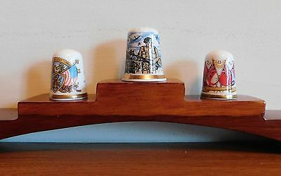 Three Fine China Thimbles Falkland Islands & Two Operation Overlord