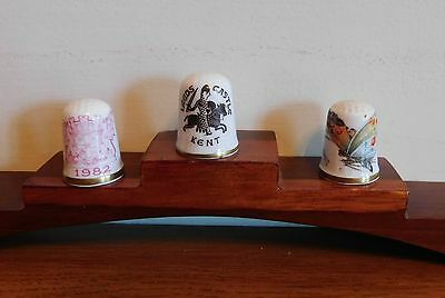 Three Fine Bone China Caverswall Thimbles  Boxed