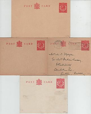 George V  4x Pre Printed 1d Postcards CP73,74,91  Mint, One used.