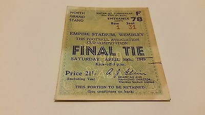 TICKET 1949 Wolverhampton (Wolves) v Leicester (FA Cup Final)