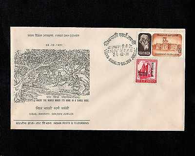 India 1971 Baharati & Refugee Relief Stamp On First Day Cover With Calcutta Cds