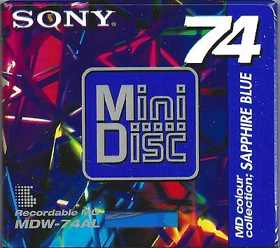 Sony Sapphire Blue Mini Disc / MDW-74EN Recordable Shock Absorbing