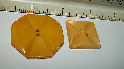 Bakelite Butterscotch carved yellow Geometric flower Buttons 2 pieces vintage