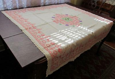 """Antique Tablecloth Hand Embroidered 51"""" Square Vintage Beautiful Pattern As-Is"""