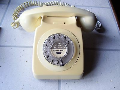 Vintage Corded Old Classic Dial Telephone Cream