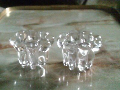 A Pair Of Pretty Flowerhead Glass Candle Holders