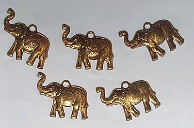 Vintage Elephant Brass Charms Stampings  With Ring 8 Pcs Last Grouop 2 Colors
