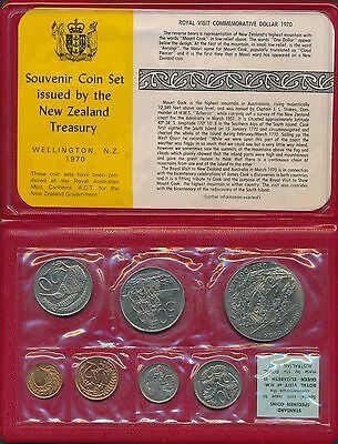 New Zealand 1970 Uncirculated 7 coin set Mount Cook