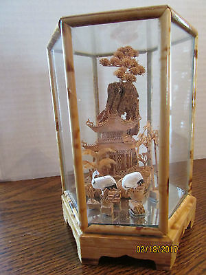 Vintag Chinese Cork Carving Pagoda, 2 Swans, Palm Trees Under Glass