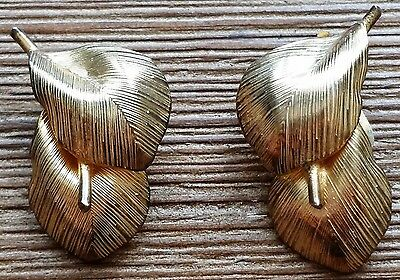 Vintage BOND BOYD Signed Sterling Silver Clip Earrings, Abstract Gold Col Leaves