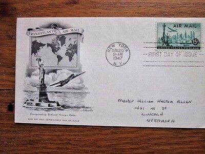 1947 15c STATUE OF LIBERTY  AIRMAIL PLANE ARTMASTER    CACHET FDC