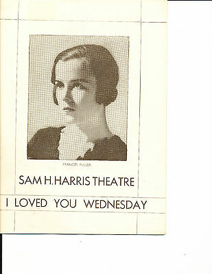 """Playbill Frances Fuller """"I Loved You Wednesday"""" 1932 NYC"""